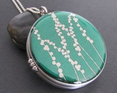 Photo Locket necklace silver necklace locket  image locket  picture locket gift  jewelry, Green Fields