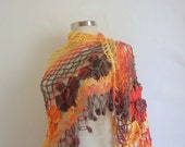 shawl crochet ,multicolor ,Flower  ,Red ,Yellow,Triangle, handmade ,Stole, Bolero ,trend ,collar,cowl,capelet,warp,warm, springlux ,fashion