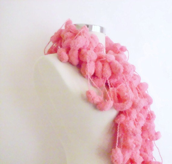 Crochet Scarf Pattern Using Pom Pom Yarn : CROCHET SCARF Pink pom Pom Cheerleader Knit Scarf by ...