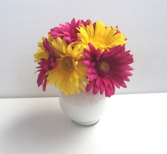 RESERVED for Angel/Silk Fuchsia And Yellow Daisies Arrangement In A White Bowl Vase