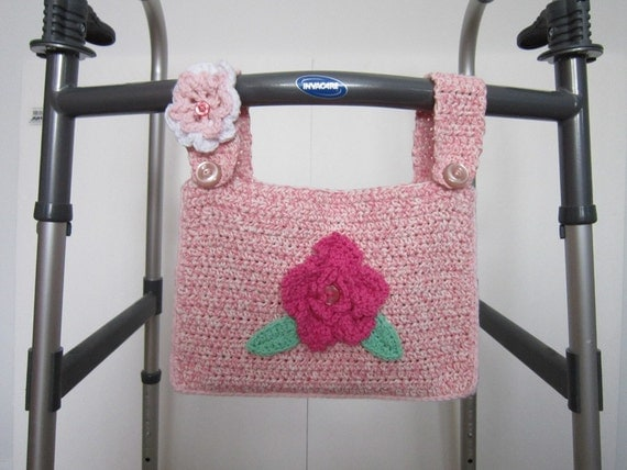 Crocheted Walker Bag Pink White Small Tote Caddy Flowers Mobility