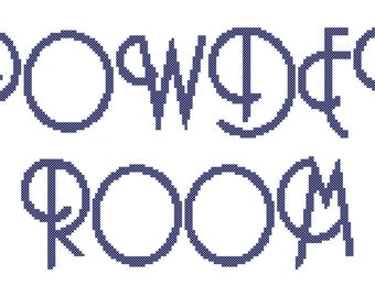 "Cross Stitch Pattern - Retro Font Large (approx 3"" H letters) and Small (approx 1.5"" H letters)"