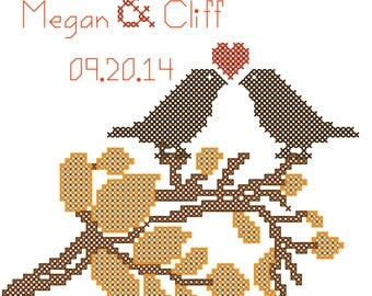 Fall Love Birds Wedding Cross Stitch Kit/Cross Stitch Kit/Cross Stitch Pattern/Love Birds Cross Stitch Kit/Wedding Kit/Modern Cross Stitch