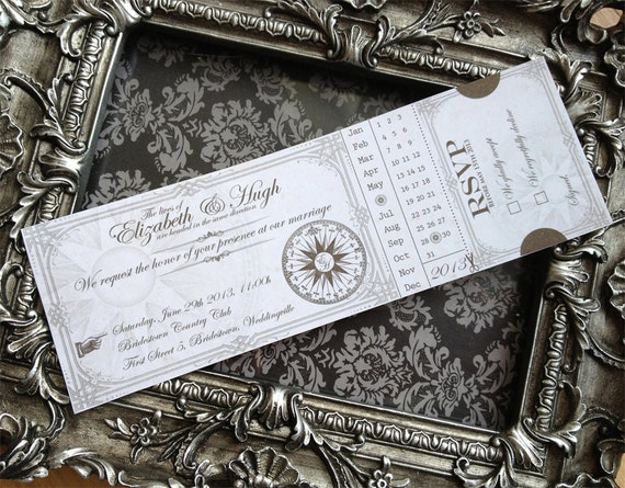 Custom Printable Steampunk Wedding Invitation Ticket 8.75 x 3 inch digital collage sheet VD0422