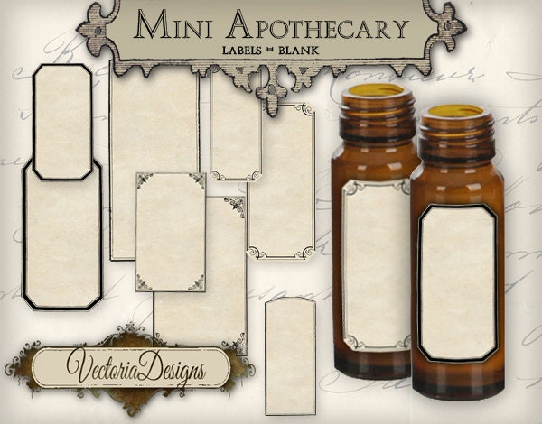 Blank Printable Tags: Blank Mini Apothecary Labels Different Sizes Mini Labels