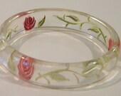 Reverse Carved Lucite Floral Pink Rose Transparent Bangle Bracelet