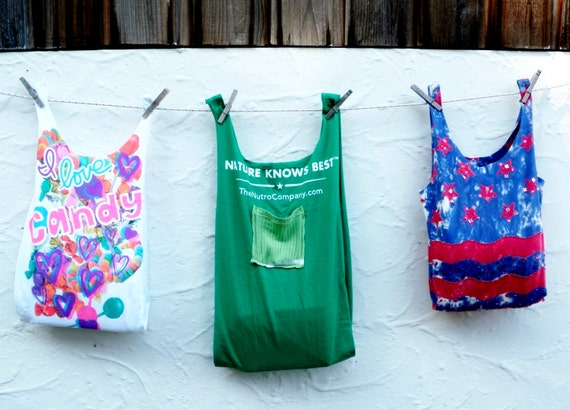 Reusable grocery bag tote compact fold up stretchy green for Reusable t shirt bags