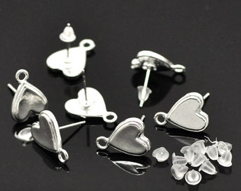 10 Silver Plated HEART POST Earrings with Loops . (5 pairs)  fin0324