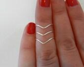 Silver Knuckle Rings, Mid Finger Rings, Midi Rings, Chevron Rings, Set of 3, Adjustable