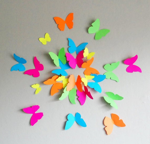 Items similar to 3D Neon Butterflies- Set of 20 on Etsy3d Neon Butterflies