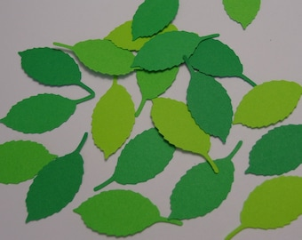 100 Mixed Green Rose Leaf Paper Punch - Die Cuts - Scrapbooking Embellishments -  Confetti - Jungle Themed Table Scatter Confetti