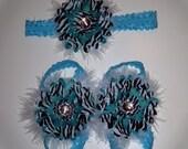 Turquoise zebra barefoot sandals and headband set
