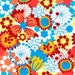 5ft x 5ft Vinyl Photography Backdrop / Retro Summer Flowers  / Photo Prop /