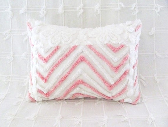 Pink pillow cover PINK CHEVRONS white flowers vintage chenille pink cushion cover 12 X 16 cottage chic shabby style
