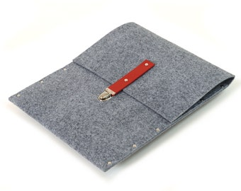 MacBook 13 inch Sleeve,13 Air Case, Cover, grey synthetic felt red leather briefcase cover handmade by SleeWay