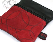 Leather Bag - Red Flower Gadget Pouch