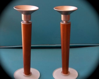 Mid Century Teak and Glass Candle Holders