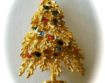 Art Christmas Tree Brooch Book Piece