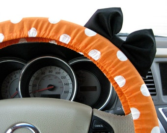 Steering Wheel Cover Bow, Large Orange and White Polka Dot Steering Wheel Cover with Black Bow BF11163