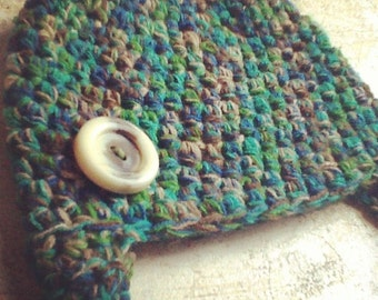 Woodland Repurposed Sweater Earflap Baby Hat