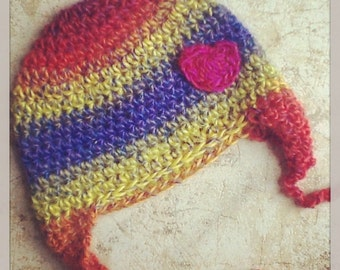 Rainbow Multicolor Repurposed Sweater Earflap Baby Hat With Heart