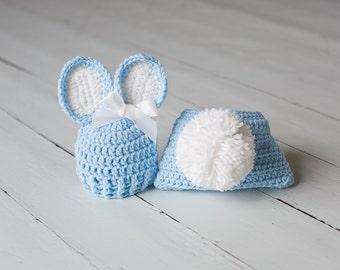Newborn Bunny Set, Baby Bunny Hat, Newborn Photo Prop, Newborn Rabbit Hat, Newborn Easter Prop, Newborn Boy Hat, Blue Diaper Cover, Bunny