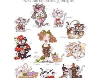 Fancy Cats Embroidery Design Collection - CD