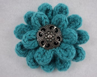 "PDF 3"" Flower Pin Pattern uses Knit & Crochet to Create"