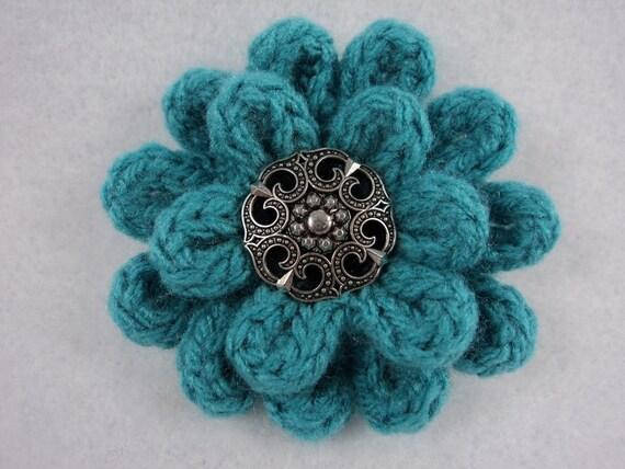 Creating Knitting Patterns : PDF 3 Flower Pin Pattern uses Knit & Crochet to Create