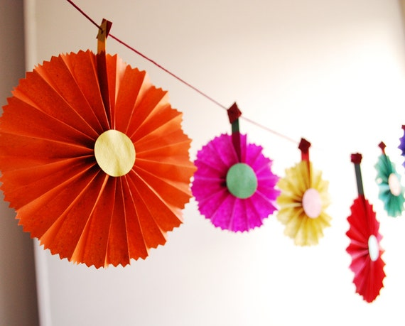 Fiesta Garland, Party Decor, Fun Colorful Rosette Ornaments, Cinco de Mayo or Birthday Decoration