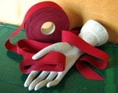 Deep Red Ribbon Fabric Trim, 1.25 inch wide, 20 Yards Long, Destash Ribbon Cranberry Red
