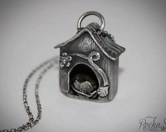 Sterling Birdhouse Necklace