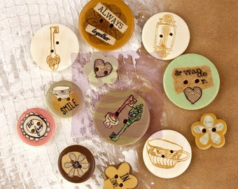 Wood Buttons - Lifetime 564988 -  Vintage wooden buttons with stamped images ( 12 count) - 2 hole