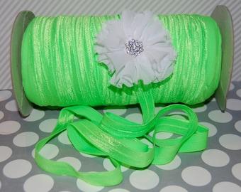 """NEON Green Fold Over Elastic - Shiny FOE 5/8"""" inch  Baby Headbands  Hair Ties  Satin Elastic Soft - 5 yards Neon  Elastic  FOE 15mm wide"""
