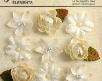 """fabric flowers - Ivory Cream 1"""" mini blossoms (9pcs) accent flowers applique flowers embellishments small mixed textured flowers  1263-200"""