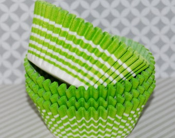 Lime Green Stripe cupcake liners (50 ct ) - cup cake liners  baking cups muffin cups  standard size  grease proof  cupcake papers