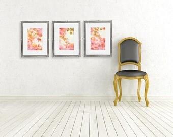 fall color photographs triptych fine art photography pink orange autumn leaves nature photo nursery art wall decor