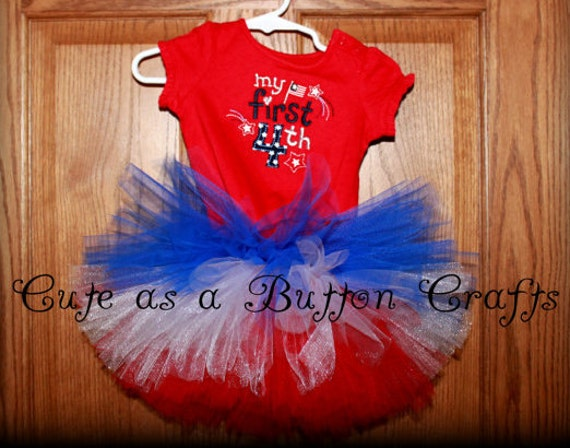 Adorable Patriotic Babys first fourth of July outfit with Coordinating boutique Bow 3 months