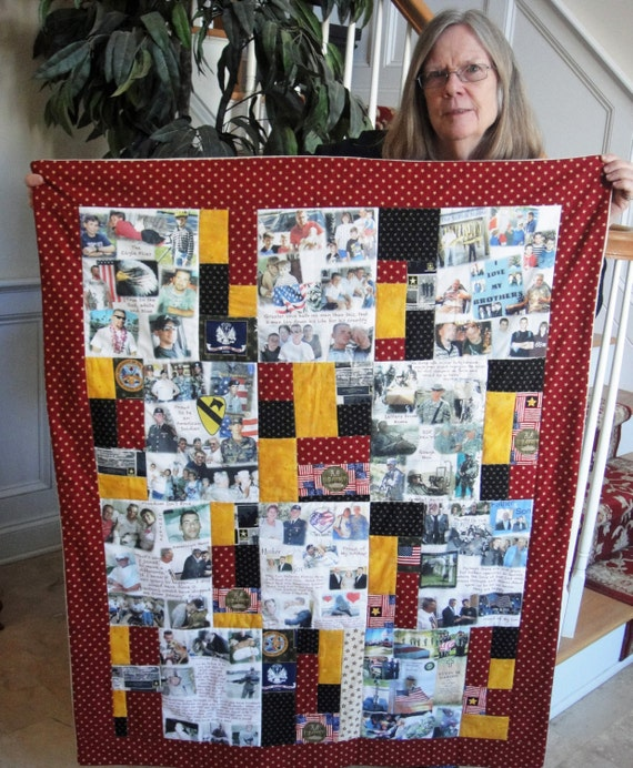 Remembering Quilt - Honoring the Memory of Young & Old.  Add Meaningful Words to Photo Collages.  Alzheimer's Friendly.  10 Panel Cost 310