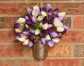 Spring Wreath- Spring Wall Pocket- Small- Purple, Lavender, and White Tulip Wall Pocket