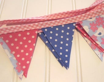 CLEARANCE/Very Mini Bunting/Fabric Flag Banner, Girl Bedroom/Party/Nursery/Baby Shower