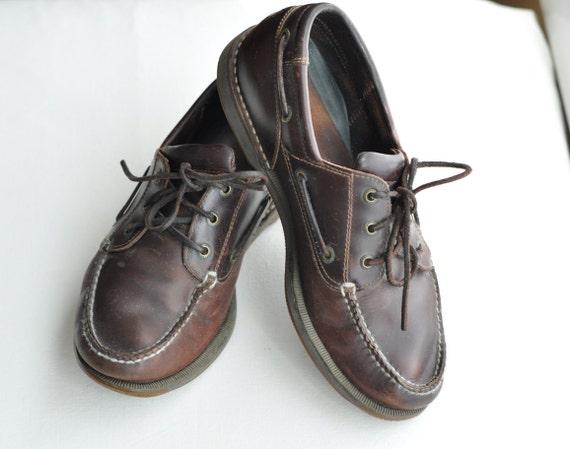 Vintage Mens Boat Shoes Rockport Deck Shoes Size 10M Dark Brown Leather