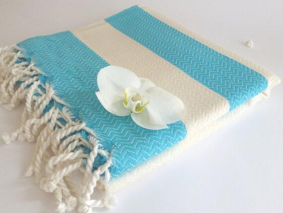 Organic Bamboo Turkish Towel, Bath, Natural Peshtemal, Hammam, spa, yoga, beach, Bath and Beauty, Mother's Day  Gift, White and Blue