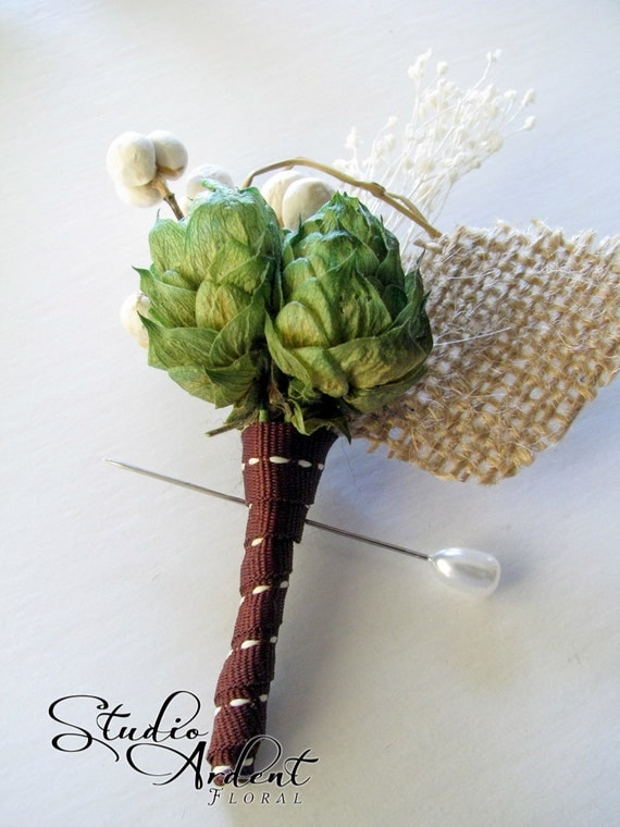 HOP AROUND  Hops Boutonniere Natural Branch and Moss QTY 1