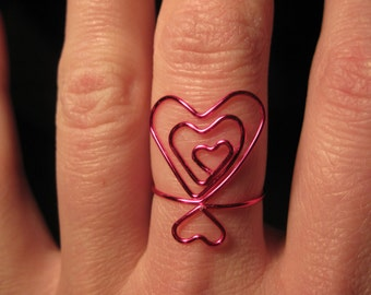 Wire Wrapped Triple Heart MADE to ORDER Adjustable Ring