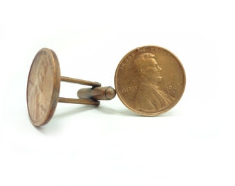 Custom Made Penny Cuff Links Your Year Choice Get Your Two Cents Worth