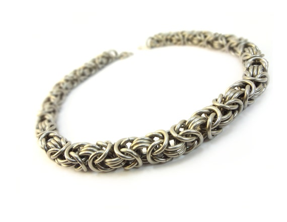 Heavy Duty Choker - Chainmaille Byzantine Weave - Large