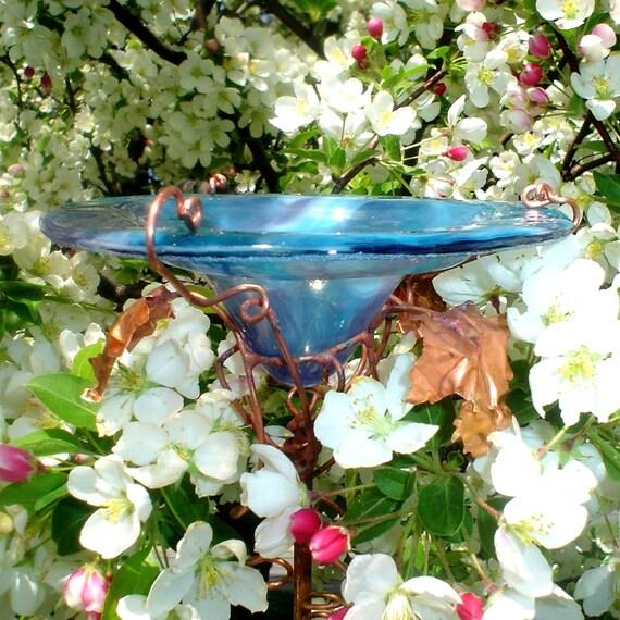 GARDEN MARKER, Butterfly Feeder, stained glass,  copper, Aqua Plum, Garden stake, Home decor