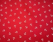 SALE - White anchor on red, fat quarter, pure cotton fabric