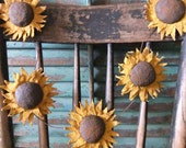 Primitive Sunflower Garland  Rustic Handmade
